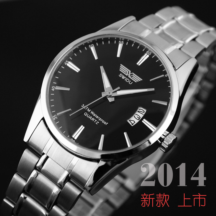 SWI 021 New 2014 Man steel belt calendar 4colors Quartz watches Round dial Wristwatch women watch