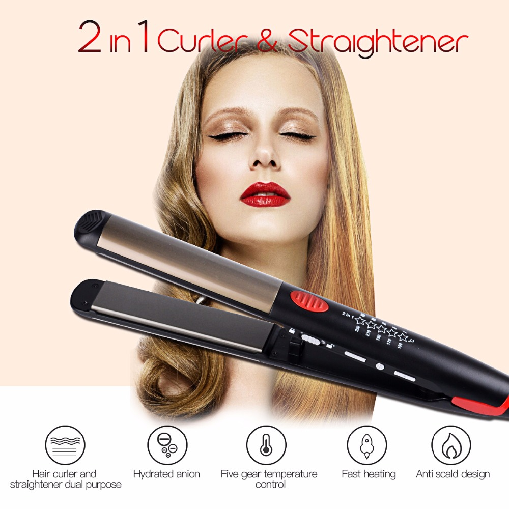 Top Ceramic Hair Straightening Iron Flat Irons LED Hair Tools Professional Curling Hair Straightener Hair curlers 50(China (Mainland))
