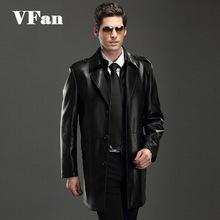 2015 New Men's Double Collar Suit Faux Leather Clothing Autumn And Winter Long Section Men PU Leather Coat Cashmere Coats Z1311