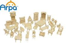 Arpa Wooden 3D Furnitures Puzzle  Scale Miniature Models  Doll House Dollhouse  Jigsaw DIY Set Accessories , 1SET=34PCS(China (Mainland))