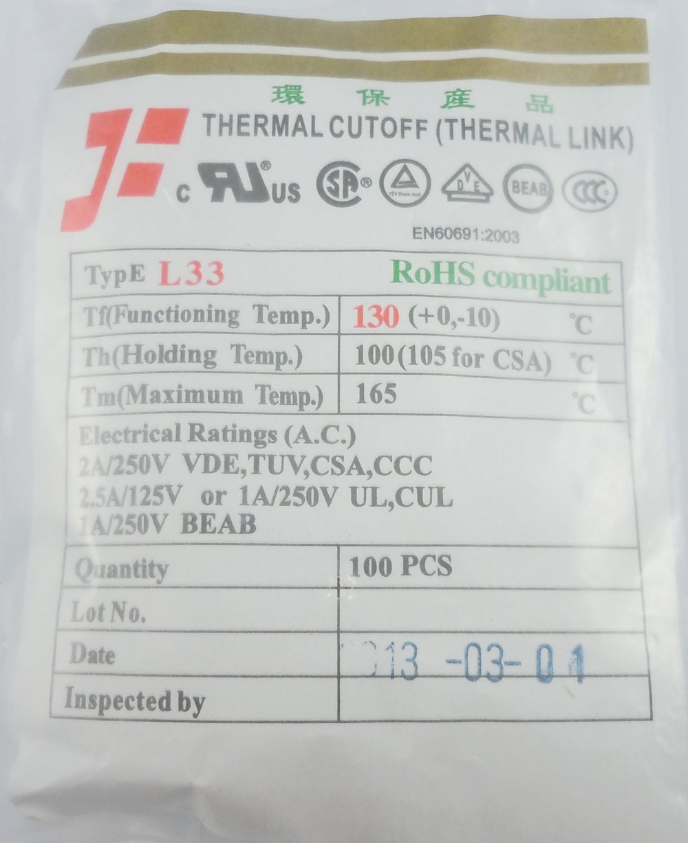 Wholesale L33 Cutoff Tf 130 Degree Thermal Fuse 2a 250v Spec 10pcs Circuit Cut Off Temperature Cutoffs 240c Ac 130c 1 2