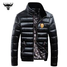 Winter Men's Duck down jacket PU Leather OverCoat Male Fashion Warm OutdoorWear Stand Collar Slim Thickening Snow Jackets Man(China (Mainland))