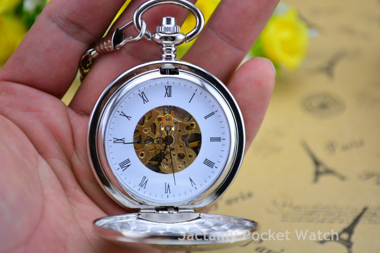Fashion Double Open Mechanical Pockets Watch Vintage Pendant Pocket Watch Full Stainless Steel Mechanical Military Pocket