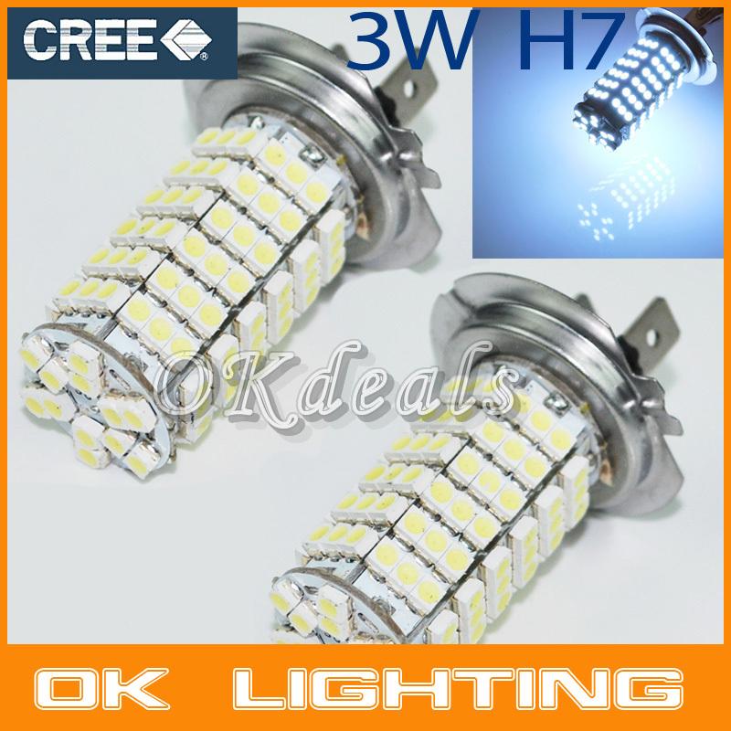 2PCS H7 Car Styling Auto 120 LED 3528 SMD 12V Base Xenon White Fog Driving Head Light Lamp Bulb(China (Mainland))