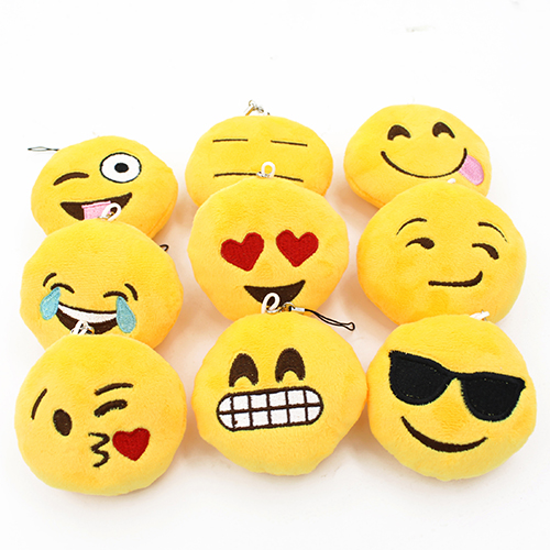 2015 New Cute Soft Emoji Smiley Emoticon Pendant Yellow Round Plush Toy Doll Ornaments 5DVX(China (Mainland))