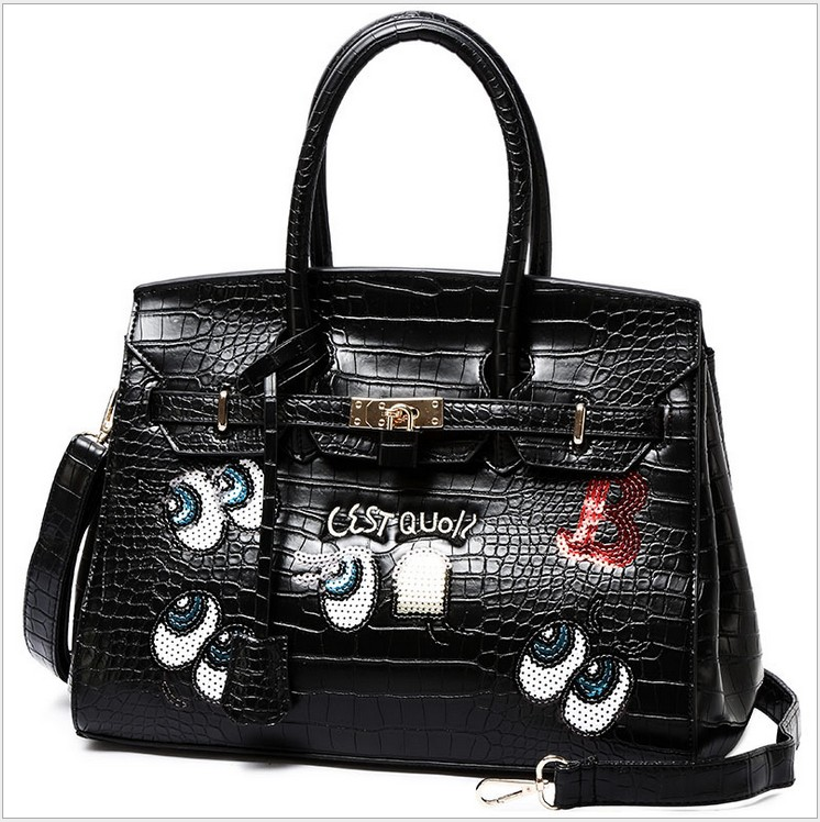 Fashion Womens eyes Crocodile totes messenger bags handbags women famous brands 2016 big size shoulder bags  Multicolor<br><br>Aliexpress