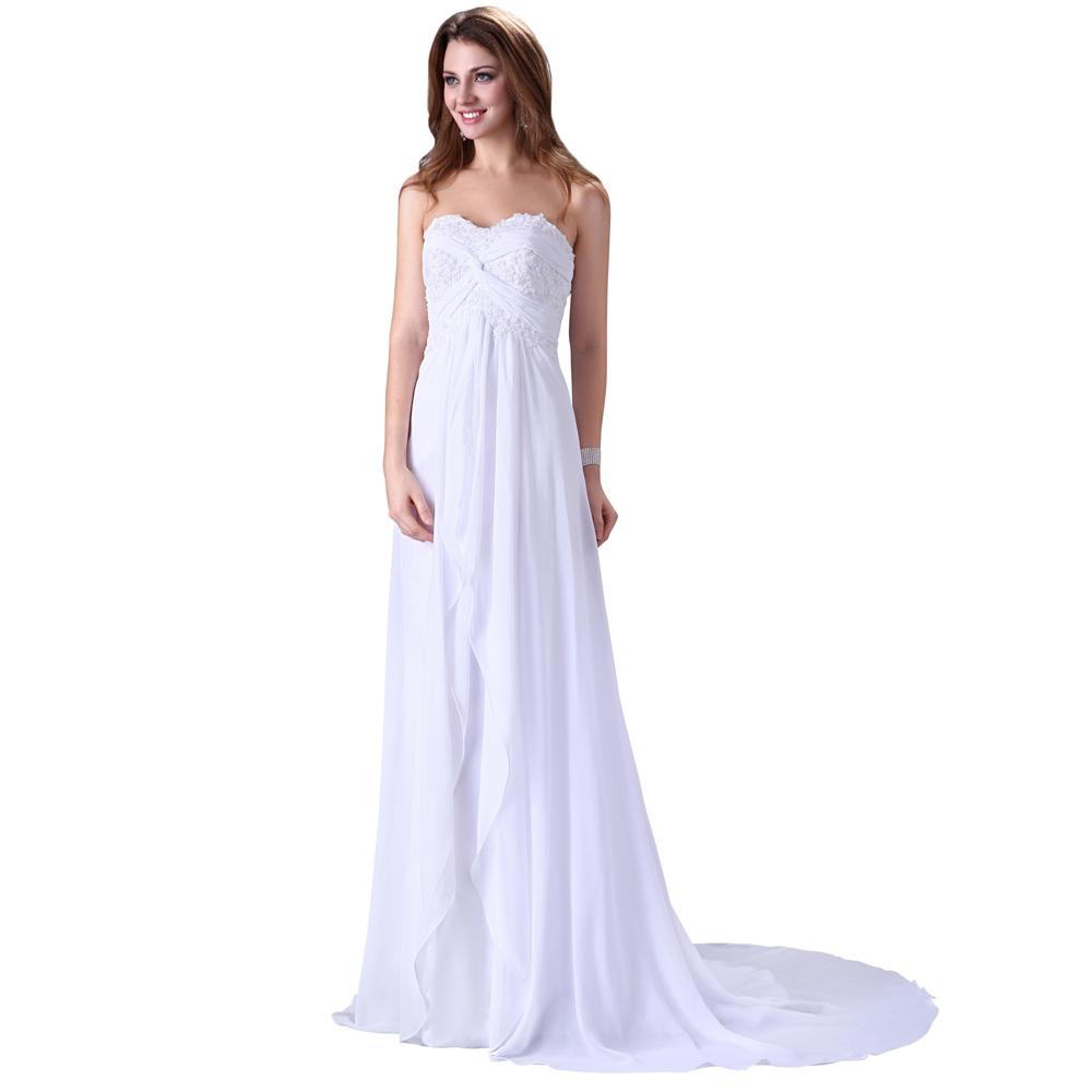 Buy free shipping elegant design floor for White chiffon wedding dress