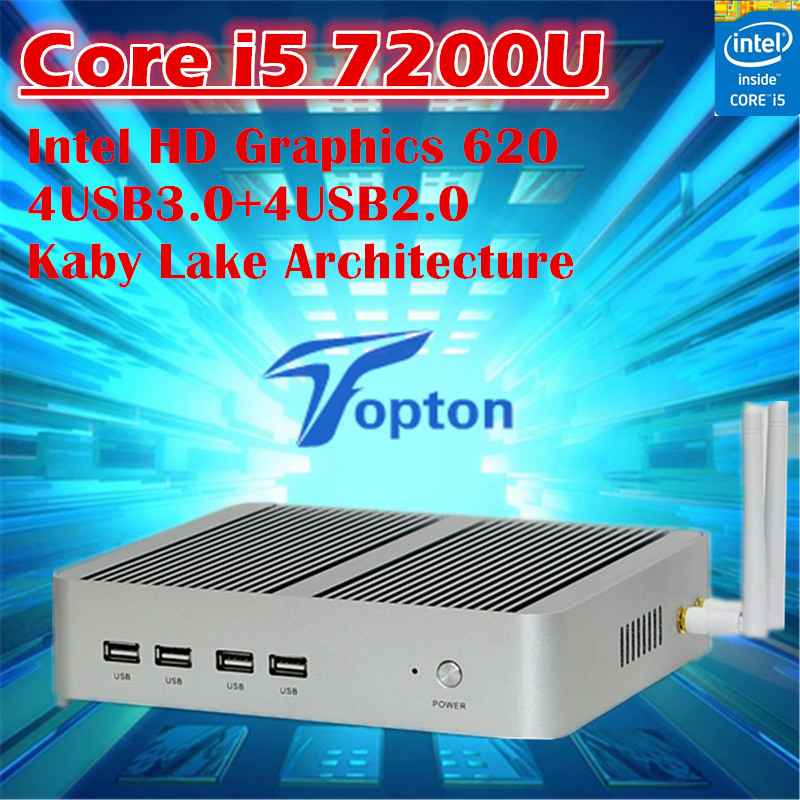Topton Windows 10 Core i5 7200U Fanless Mini PC Intel HD Graphics 620 4USB3.0+4USB2.0 300M Wifi TV Box Mini Desktop Computer(China (Mainland))