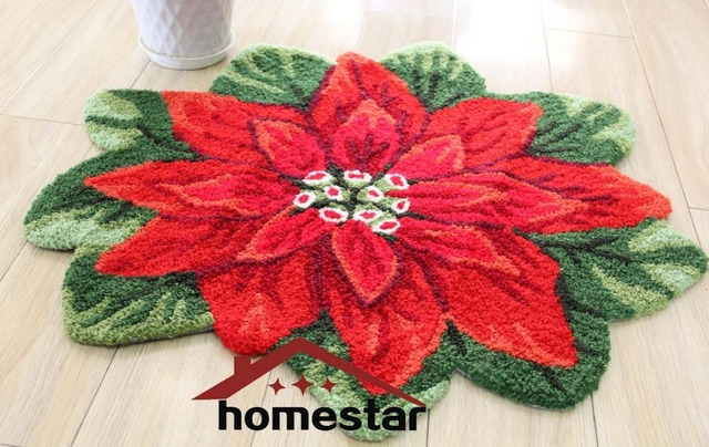 Embroideried рождество коврик цветок этаж коврик красный цветочный ковер декоративные дверь коврик для ванной коврик сезонные декор коврик