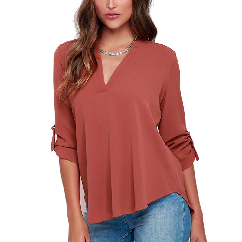 Womens Summer Casual Loose Shirt Sexy Chiffon Tops V-Neck Long Sleeve Blouse(China (Mainland))