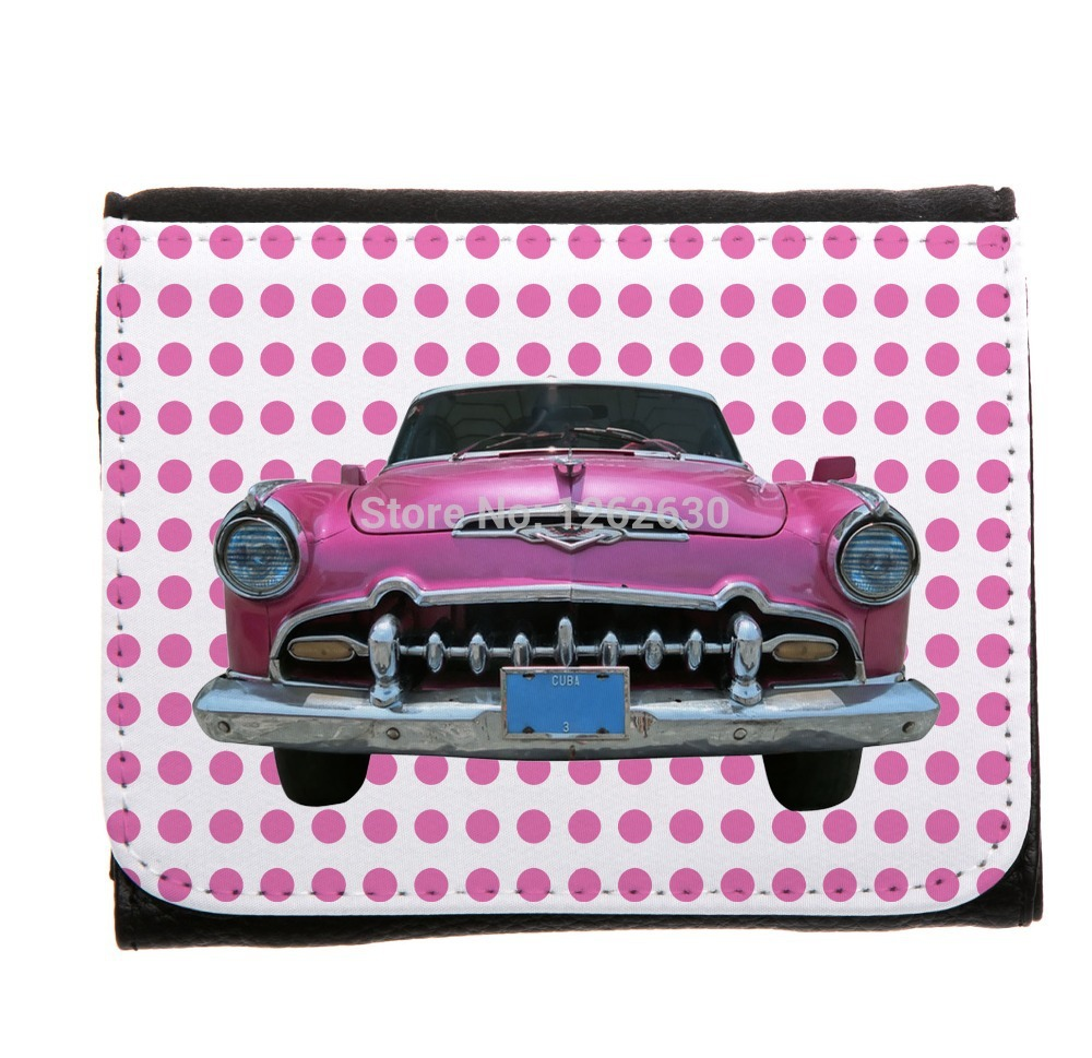 Pink Dot and Vintage old Car Print Customized Small Faux Leather women Wallets Card Holder carteira Coin Purse(China (Mainland))