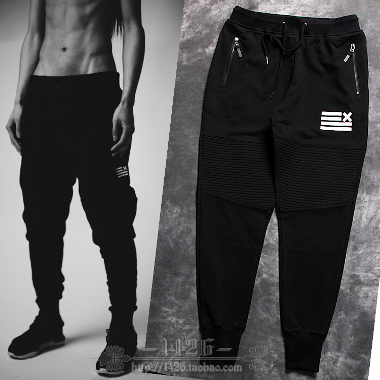 Hot!!New Arrivel Mens Trend Fashion Pleated Cotton Jogger Pants Elastic Waist Thread Trousers Design Casual - YSOUL store