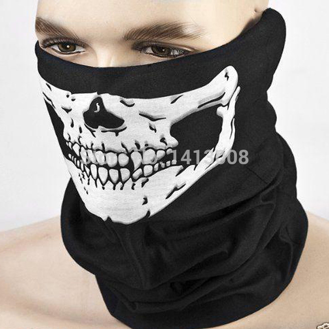 2016 NEW CS Cosplay Ghost Skull Black Face Mask Cap Motorcycle Biker Multi functional Skeleton Hat Scarf Balaclava(China (Mainland))