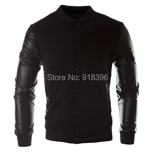 New Men 2015 Sweater PU Leather Collar Sweater Personalized Baseball Stitching Clothes Man Jacket Plus Size