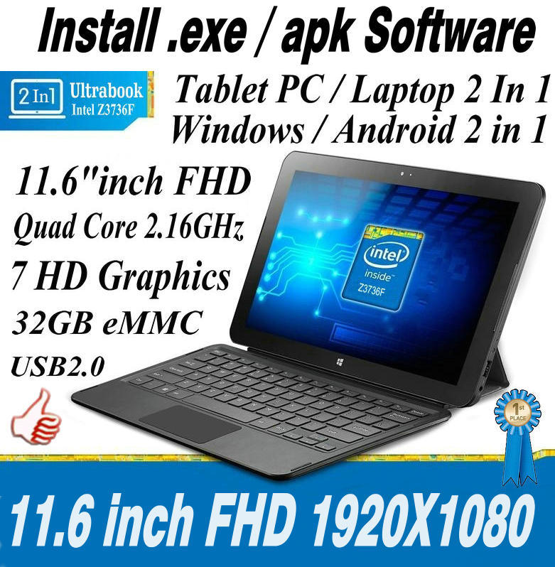 "11.6"" Inch Dual System Microsoft Windows 8.1 and Android 4.4 Quad Core 2 IN 1 System 32GB Laptop Tablet PC Mini Netbook Computer(China (Mainland))"