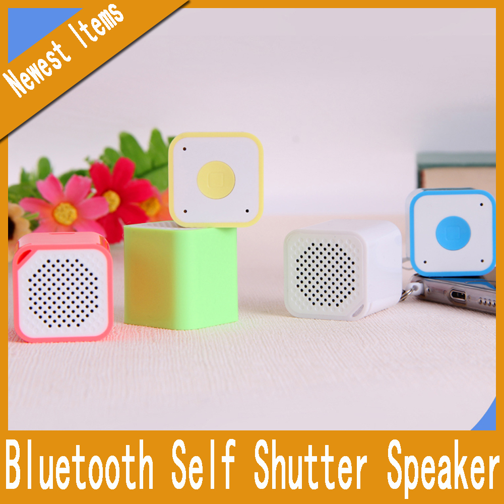 In Stock Portable Bluetooth Self Shutter selfie Speaker High Quality Stereo Music Speaker For Smart Phone Tablet PC(China (Mainland))