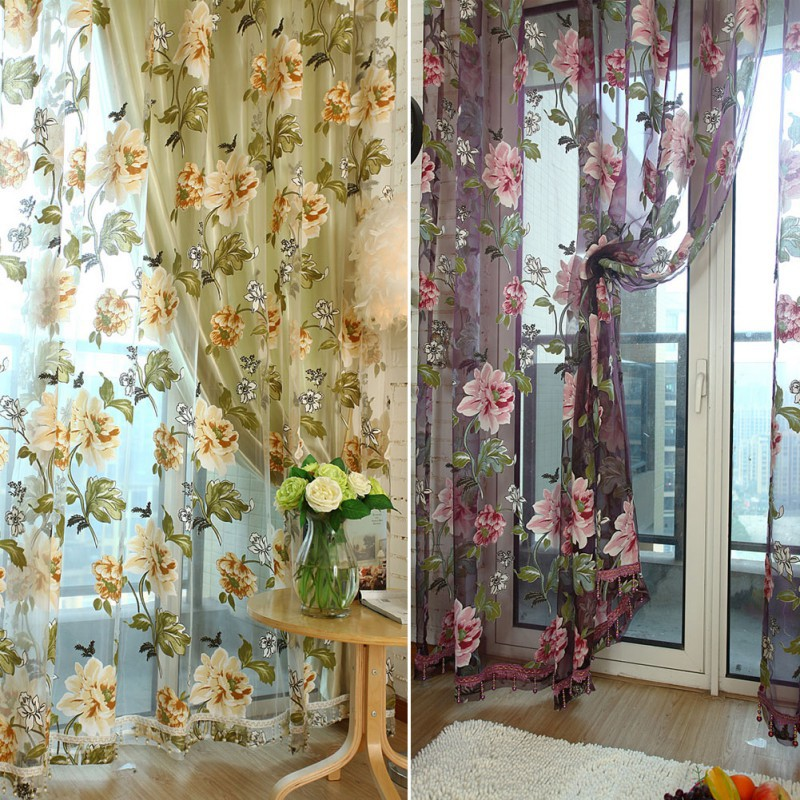 Wholesale 1 Pcs Elegant Floral Tulle Voile Window Curtain Panel Sheer Drape Scarf Valances(China (Mainland))