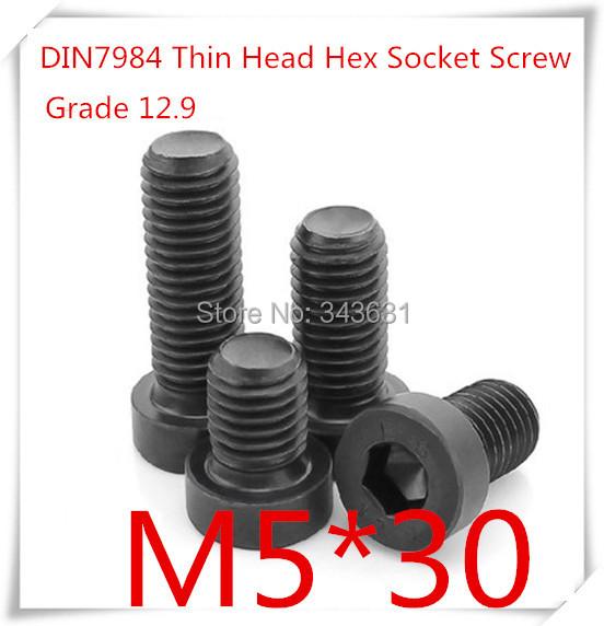 100PCS/LOT Grade12.9  DIN7984 M5*30 Hexagon Socket Thin/ low / Short Head Cap Screw<br><br>Aliexpress
