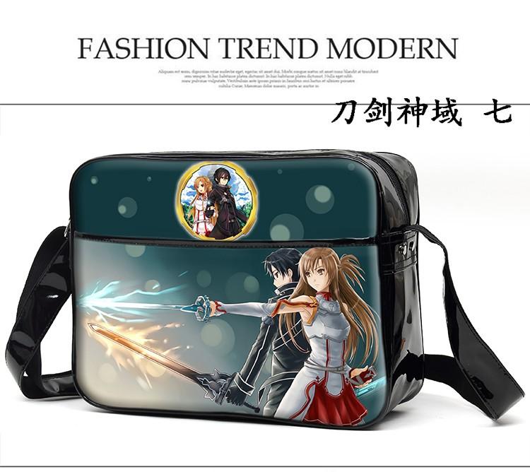 Cartoon Unisex Shoulder Bag Sword Art Online SAO Cosplay Sling Bags Schoolbag Bookbag PU Messenger Crossbody Bag
