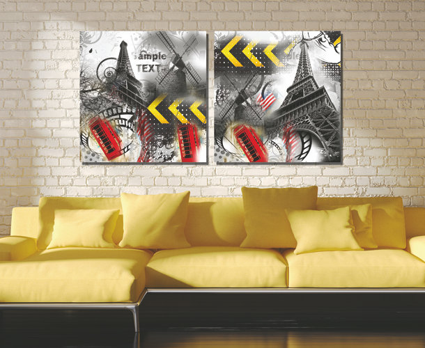 Printed two-picture Combination Posters Wallpapers Prints on canvas sample text(China (Mainland))