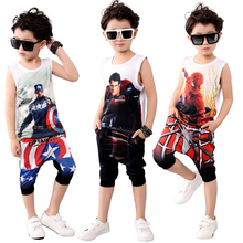 Kids 6-14 Summer Clothes Boys Cotton Captain America Clothing Sets Boys 3d T-shirt+ Pants Baby Boy Clothes Sport Suits 2016(China (Mainland))