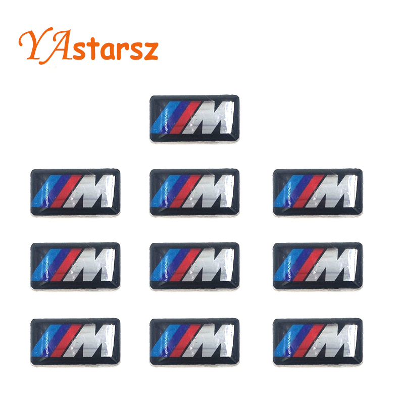 Car styling 10PCS Tec Sport Wheel Badge 3D M Emblem Sticker Wheel Decal Fit for BMW X1 X2 X3 M1 M3 M5 M6(0.71*0.39inch)(China (Mainland))