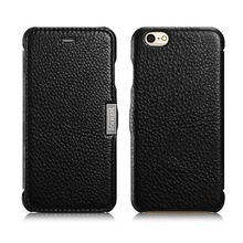 icarer Luxury litchi lines Flip case for iPhone 6 Genuine Cowhide Mobile Phone cover cases for iPhone 6s