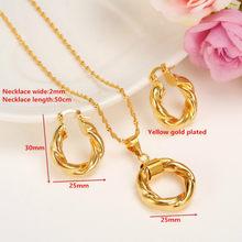 Dubai Gold Äthiopischen Halskette Ohrringe Afrikanischen Sets Gold Schmuck Für Israel Sudan Arabischen Nahen Osten Frauen(China)