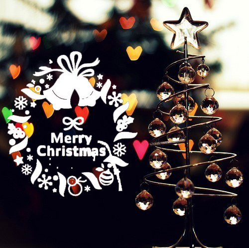Christmas Wreath Bell Garland gift wall art decor christmas outdoor decoration decorative home window decals(China (Mainland))