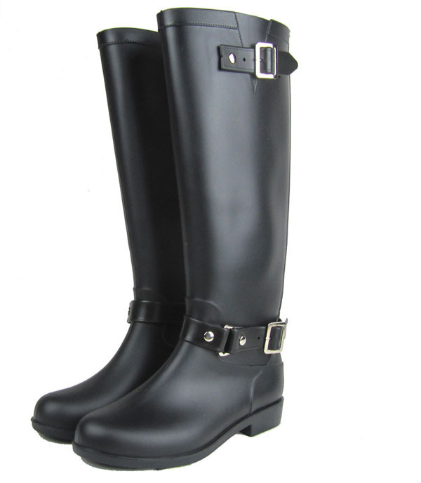 High Riding boots Black Cool Pvc Rain Boots For Women ,Buckle style Motorcycle Boots US6#,7#,8#,9#,10#,11#<br><br>Aliexpress