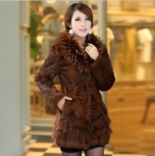 2013 Autumn and Winter Women's  Natural Rabbit Fur Coat with Raccoon Fur Collar Female Slim Outerwear Korean Style VK1116