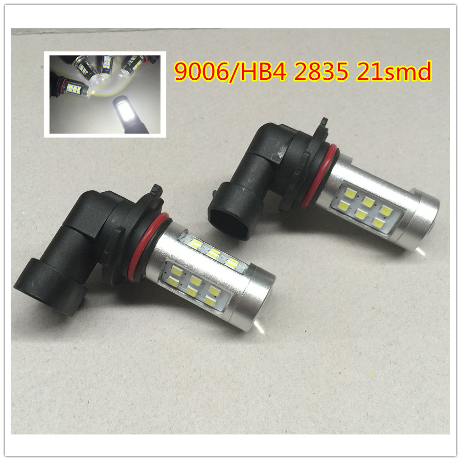 2x Car Styling 9006 HB4 Super Bright 2835 21 SMD Auto Car Light Source 12W Hight Low Beam Head Light Fog Light DRL Free shipping(China (Mainland))