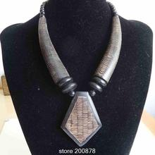 TNL599 Tibet Natural Yak Horn Carved Fish Scales Big Tie Pedant Necklace 2015 New Arrival,Ethnic fashion jewelry(China (Mainland))
