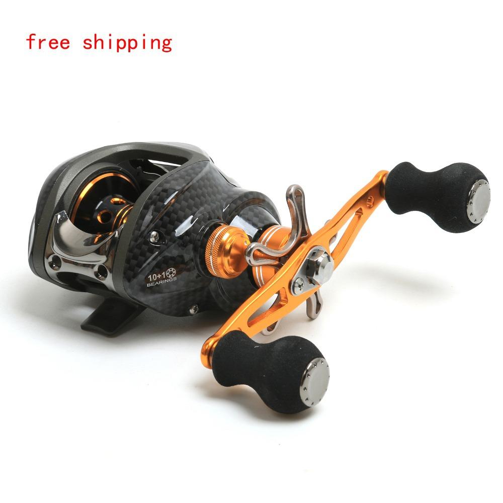 FREE SHIPPING MX Gear Ration 6.3:1, 10+1 Bearings Gold Baitcasting Reel Left Hand Bait Casting Reel Fishing Reel(China (Mainland))