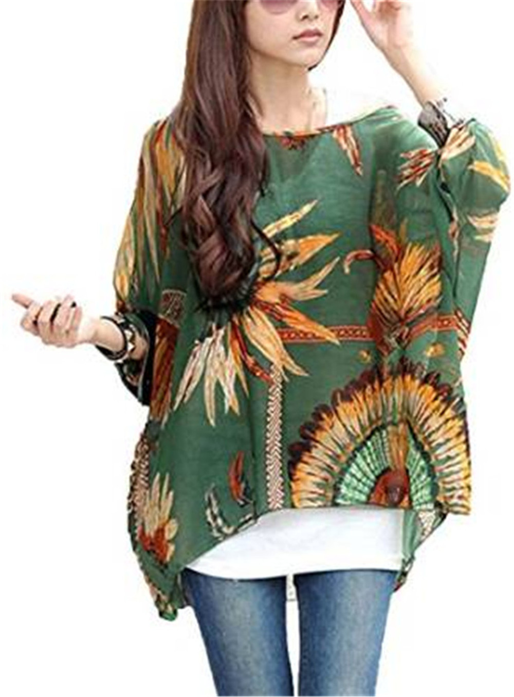 2016 New Fashion Hot Sale Floral Batwing Sleeve Beach Loose Blouse Tunic Tops XY1602(China (Mainland))