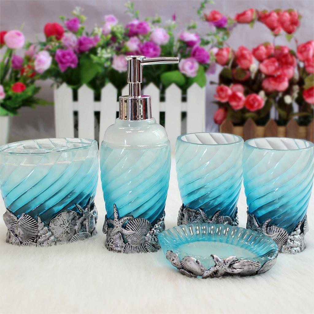 Buy 5pc set bathroom accessories ocean for Blue bath accessories set