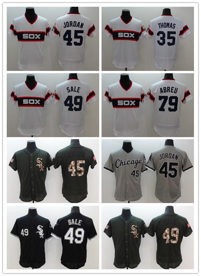 Chicago White Sox Jersey #35 Frank Thomas #49 Chris Sale #79 Jose Abreu Stitched Baseball Jerseys White Black Gray Alternate(China (Mainland))