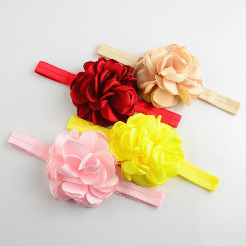Free shipping , 10 pcs/lot Boutique Baby headbands, Layered Rosette Headband, Burned Satin Flower Headband(China (Mainland))