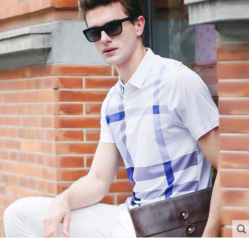 Double mercerized cotton short sleeved T shirt male summer font b chequered b font Shirt Short