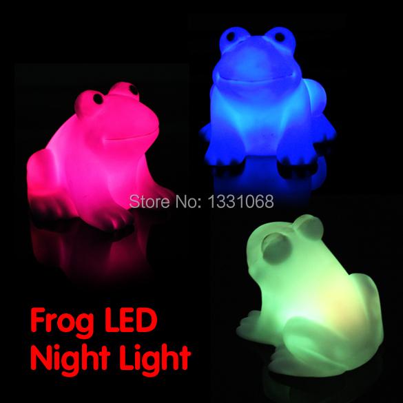 Color Changing Cute Frog shape LED Night Light J3G#(China (Mainland))