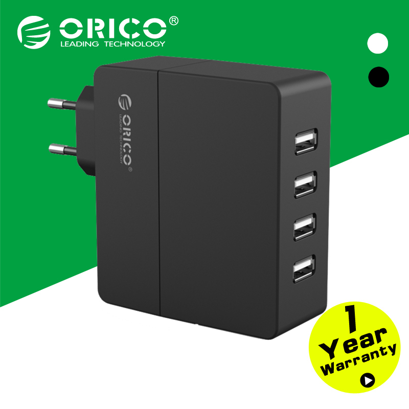 ORICO DCA-4U 4-Port Wall USB Phone Charger 5V2.4A*4 6A30W Total Output Original Europe Plug-Black/White