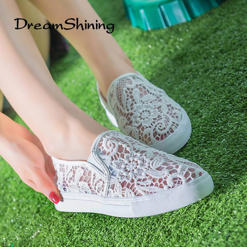 DreamShining Latest Design Hollow Out Shoes Fashion Summer Slipony Women Footwear Comfortable Female Cute Lace Mesh Falt Shoes(China (Mainland))