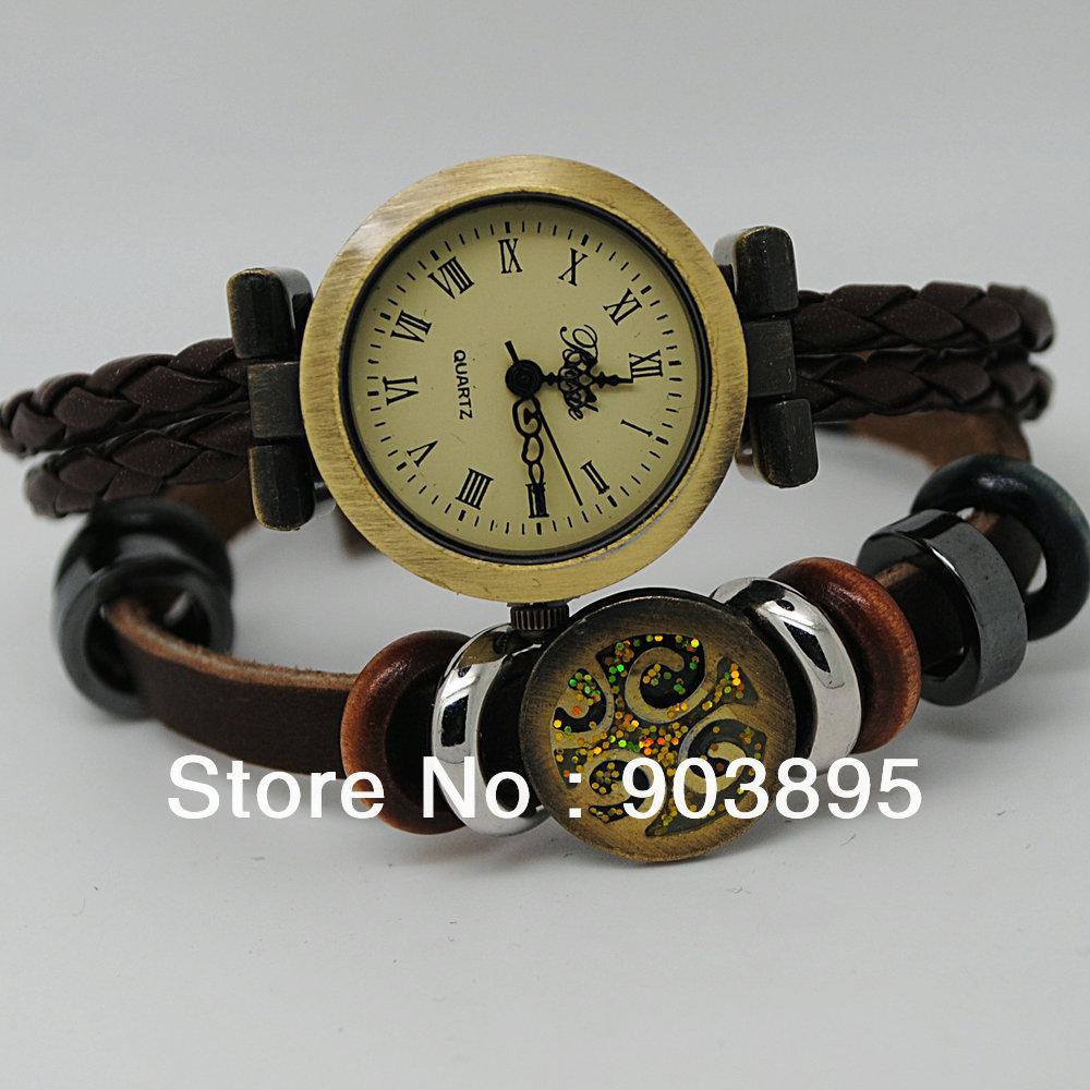 2013 Hot sell puck lady vintage charm bracelet watch Rome time women fashion Genuine cow leather quartz wrist watch free ship(China (Mainland))