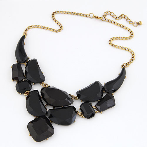 2015 Europe Fashion Temperament Generous Geometry Vintage Choker Necklaces Black Resin Chain Necklaces Jewelry Women New PD23(China (Mainland))