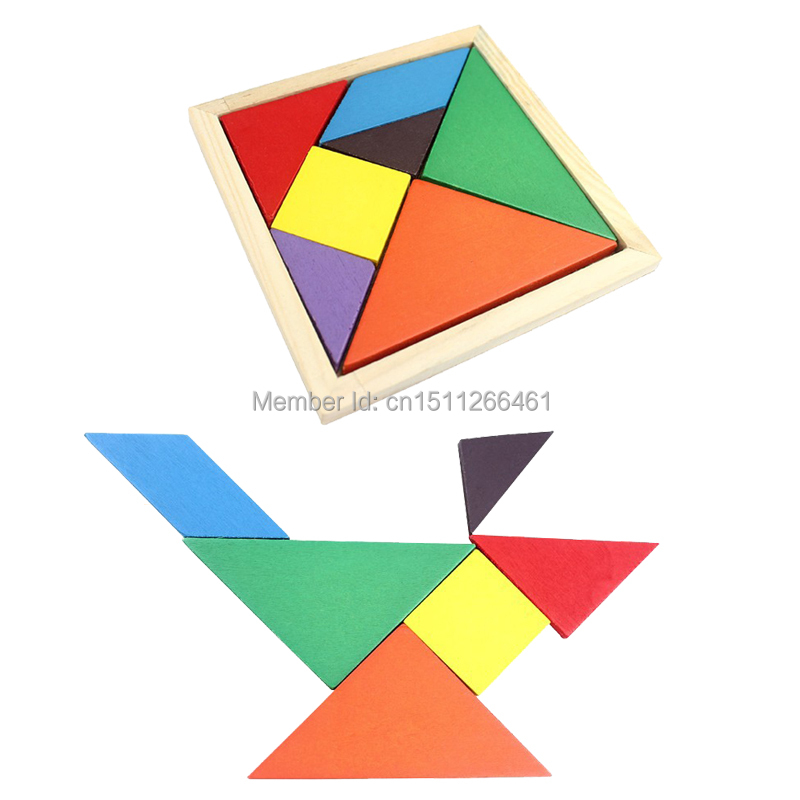 1PC Free Shipping Wooden tangram 7 piece puzzle square IQ game Brain teaser Intelligent Toy FZ1693 pOxRQ(China (Mainland))