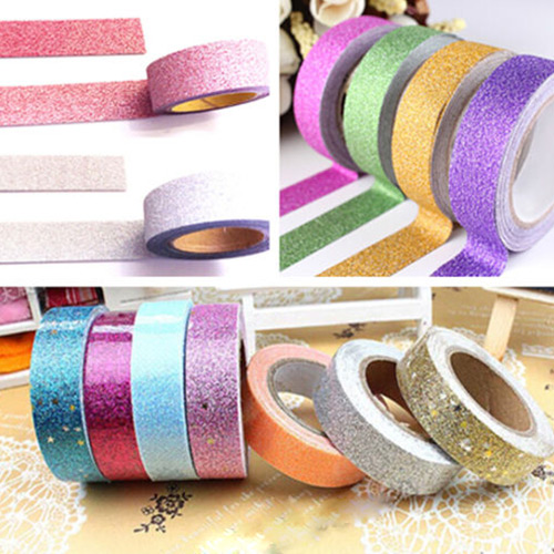 Гаджет  High Quality 5 meters Craft Glitter Washi Tape Book DIY Scrapbooking Adhesive Paper Sticker Gift Packing None Офисные и Школьные принадлежности