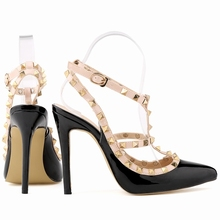 Fashion rivets shoes high shoes  pointed toe hasp thin heels sandals shoes rivet  pointed toe shoes female sandals  302-5PA
