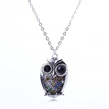 2014 New Arrival Vintage Jewlery fully jewelled Color Owl Pendant Necklace For Lady Silver Pendant XL5677