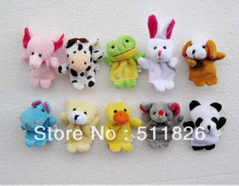 Free Shipping 100pcs Animal Finger puppets Cloth wool toy gift Baby stories helper Finger doll 8523