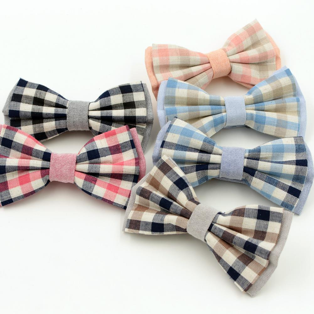 7 colors Cotton Polyester Men Bow tie Plaid Bowtie Wedding Grooms Grid Tuxedo Butterfly Brand Gravat Tie(China (Mainland))
